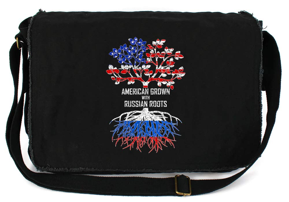 Tenacitee American Grown with Russian Roots Flamingo Raw Edge Canvas Messenger Bag