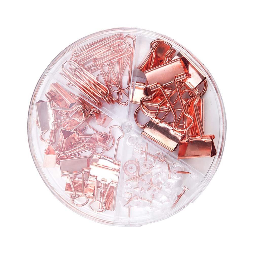 STOBOK 1 juego de clips de papel de oro rosa Clips de encuadernaci/ón Empuje los alfileres con la caja Juego de papeler/ía con combinaci/ón de escritorio para oficina