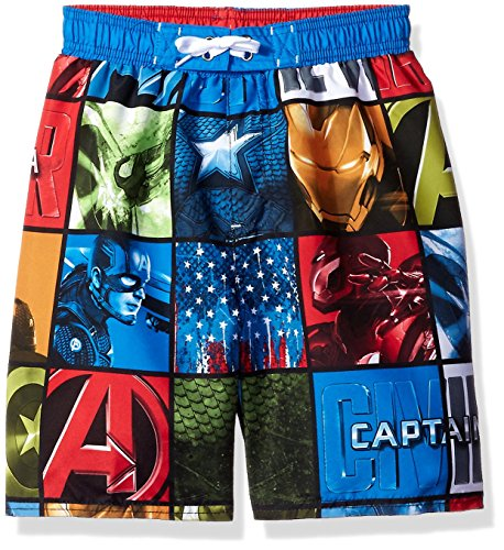 Marvel Big Boys Civil War Comic Style Ironman Vs. Captain America Swim Trunk, Blue, 10/12