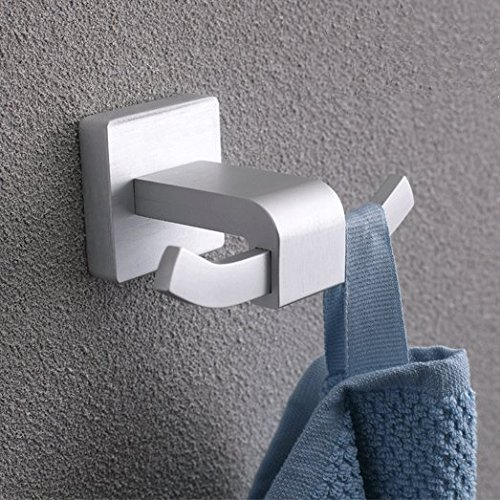 BOEN A2017 SOLID Aluminum Bathroom Lavatory Wall Mount Single Coat and Robe Hook, Sliver Grey