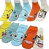 Boy's 5pk Low-Cut Socks Pokemon Go Meowth Pikachu Ivysaur Charmander Character Women's Ankle Socks / Socks Gift