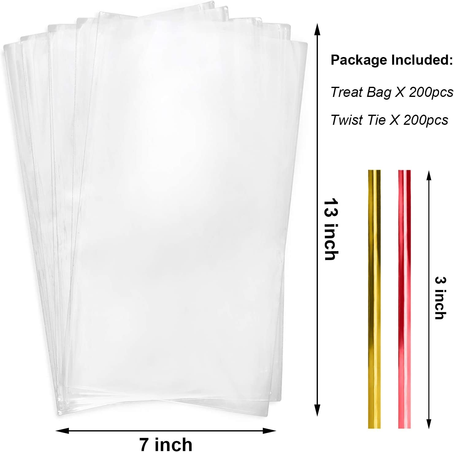Cello Cellophane Treat Bags,200 PCS 2x10 Inches Clear Long OPP Plastic Bags with Twist Ties for Pretzel Rods,ICY Candy Popsicle