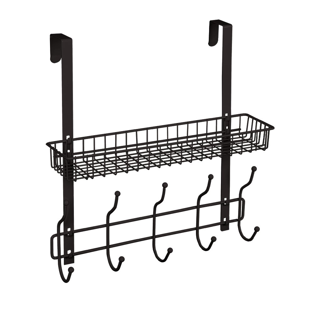 NEX Upgrade Over The Door Hook Shelf Organizer 5 Hooks With Basket Storage Rack For Coats & Towels, Chrome (Dark Brown)