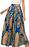 NINEWE Women Full/Ankle Length Blending Maxi Long Skirt Beach Skirt Orange Flower 12