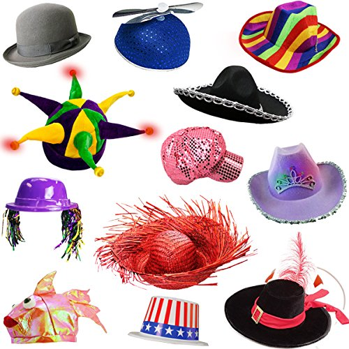 [6 Assorted Dress Up Costume & Party Hats by Funny Party Hats (6 Adult Costume Hats)] (Adult Costumes)