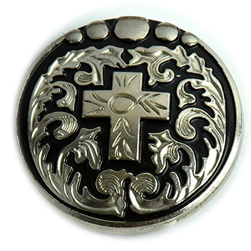 Cross Concho (Western Cross Conchos with an Antique Nickel and Black Enamel)