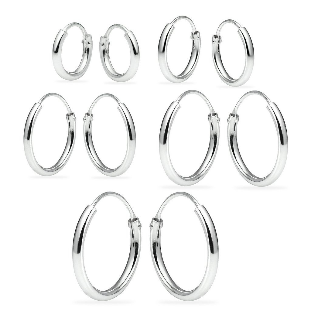 Sterling Silver Endless Hoop Earrings Set Of Five 1.2mm x 8, 10, 12, 14, 16mm Thin Round Unisex