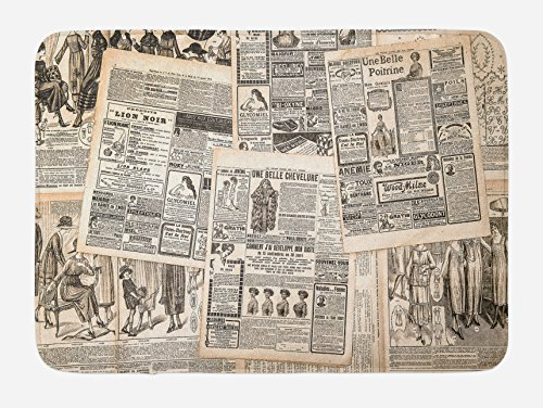 Lunarable Retro Bath Mat, Vintage French Newspaper Background Nostalgic Antique Dated Past Design, Plush Bathroom Decor Mat with Non Slip Backing, 29.5