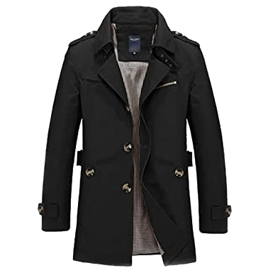 a252ef0372 DUBUK Mens Trench Coat Single Breasted Lightweight Jacket Military Jackets  Windbreaker Wind Trench Coats Outdoor Jacket