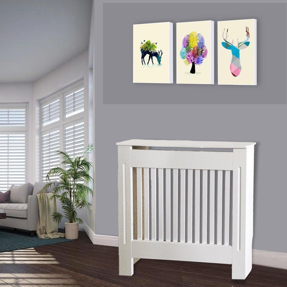montage facile Cache-radiateur petit//moyen//grand panneau MDF peint en blanc pour d/écoration de placard moderne et traditionnel blanc