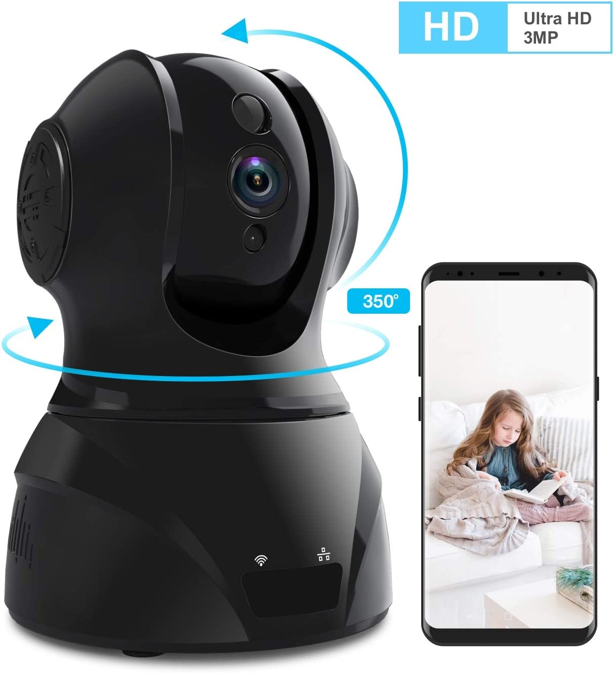 Home Security Camera Wi-Fi IP Camera, Wonbo Wireless HD 3MP Pan Tilt Zoom 2.4G with 2-Way Audio, Motion Detection, Night Vision, Auto-Cruise, Remote Monitor for Baby Pet Elder Android iOS