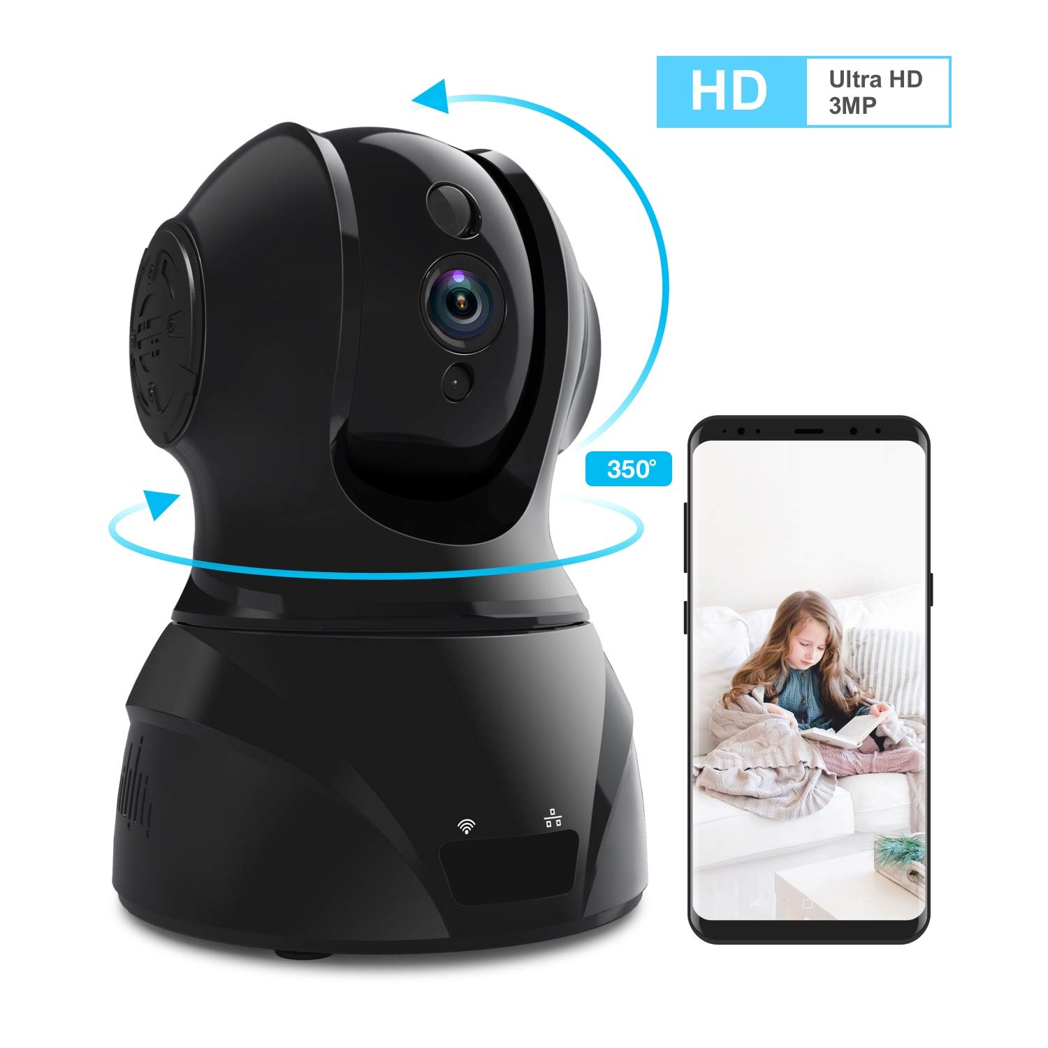 Home Security Camera Wi-Fi IP Camera, Wonbo Wireless HD 3MP Pan/Tilt/Zoom 2.4G with 2-Way Audio, Motion Detection, Night Vision, Auto-Cruise, Remote Monitor for Baby Pet Elder (Android/iOS) by homectrl