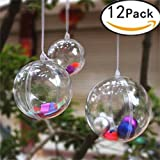 Christmas Clear Balls Decorations Xmas Tree Ornaments Baubles 6cm Fillable Transparent Plastic Ball DIY Hanging Ball to Fill Candy Presents for Wedding Party Valentine's Day Home Decor (12 Pcs)