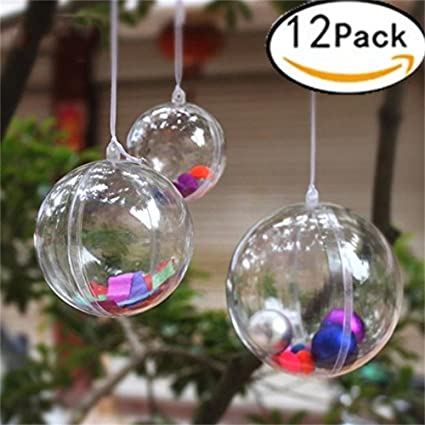 Christmas Clear Balls Decorations Xmas Tree Ornaments Baubles 6cm Fillable Transparent Plastic Ball DIY Hanging