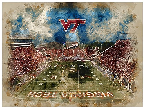 Virginia Tech Hokies Poster Watercolor Art Print 12x16 Wall (Virginia Tech Wall)