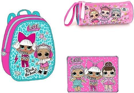 LOL Rock - Set Escolar de Mochila y Estuche Escolar con Cremallera LOL Surprise + Mantel LOL de Tela: Amazon.es: Equipaje