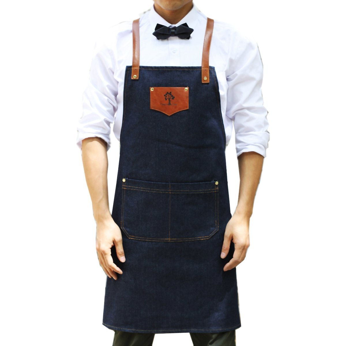 VAHOME Denim Chef Shop Apron with Pockets Durable & Comfortable