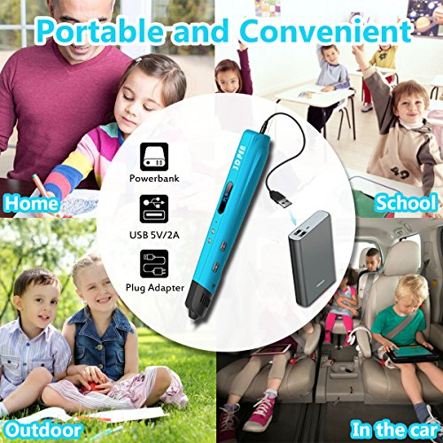 3D Printing Pen for Kids,Todoxi 3D Drawing Doodle Pen with LED Display and Model Making Arts and Crafts, Including 6 Colors 2M PLA Filament Refills, Creative Christmas Gift for Kids/Adults by Todoxi (Image #4)