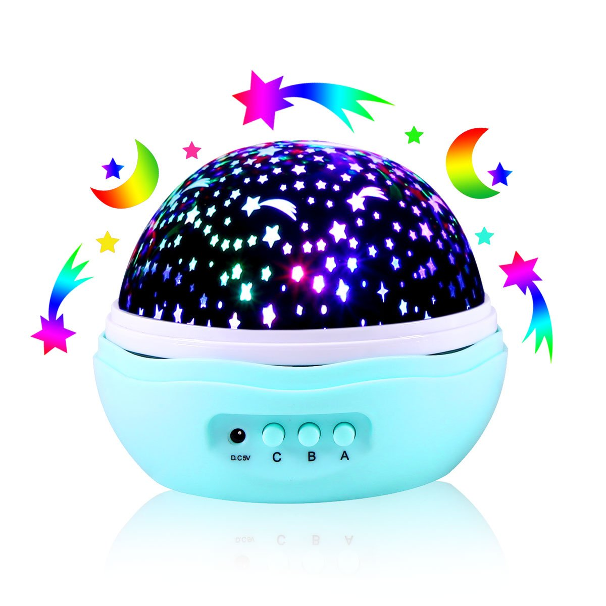 [Wall Adapter Included] Star Moon Sky Projector, 360 Degree Rotational LED Projector Night Light With 8 Light Modes - Perfect for Bedroom, Baby and Kid's Room B07B4DJS5F 13746 Star Moon Sky Star Moon Sky