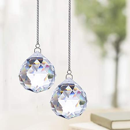 Hanging Crystals Prisms with Chain for Window Car Fengshui,Set of 3 H/&D 20//30//40mm Clear Crystal Ball Prism Suncatcher Rainbow Pendants Maker