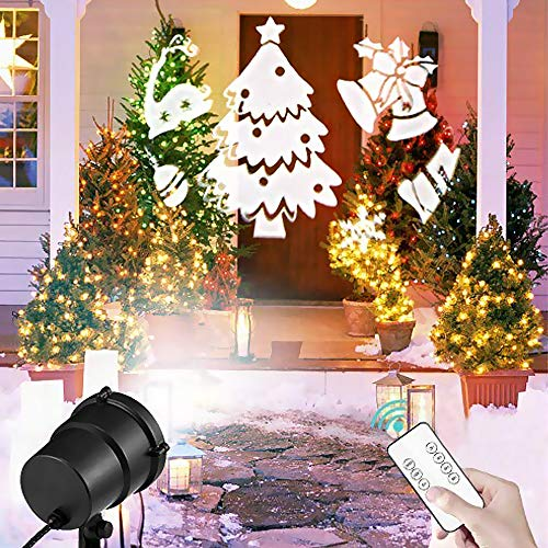Christmas Projector Lights Outdoor Waterproof LED Landscape Spotlights White 3D Rotating Projector with Remote Control & 21 Moving Patterns for Xmas Halloween Party Wedding Garden Indoor -