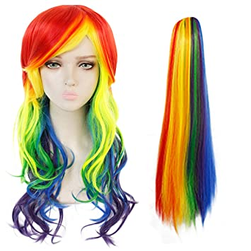 Ponytail My Little Pony Rainbow Dash Cosplay Wig Long Wavy Synthetic Full Wigs
