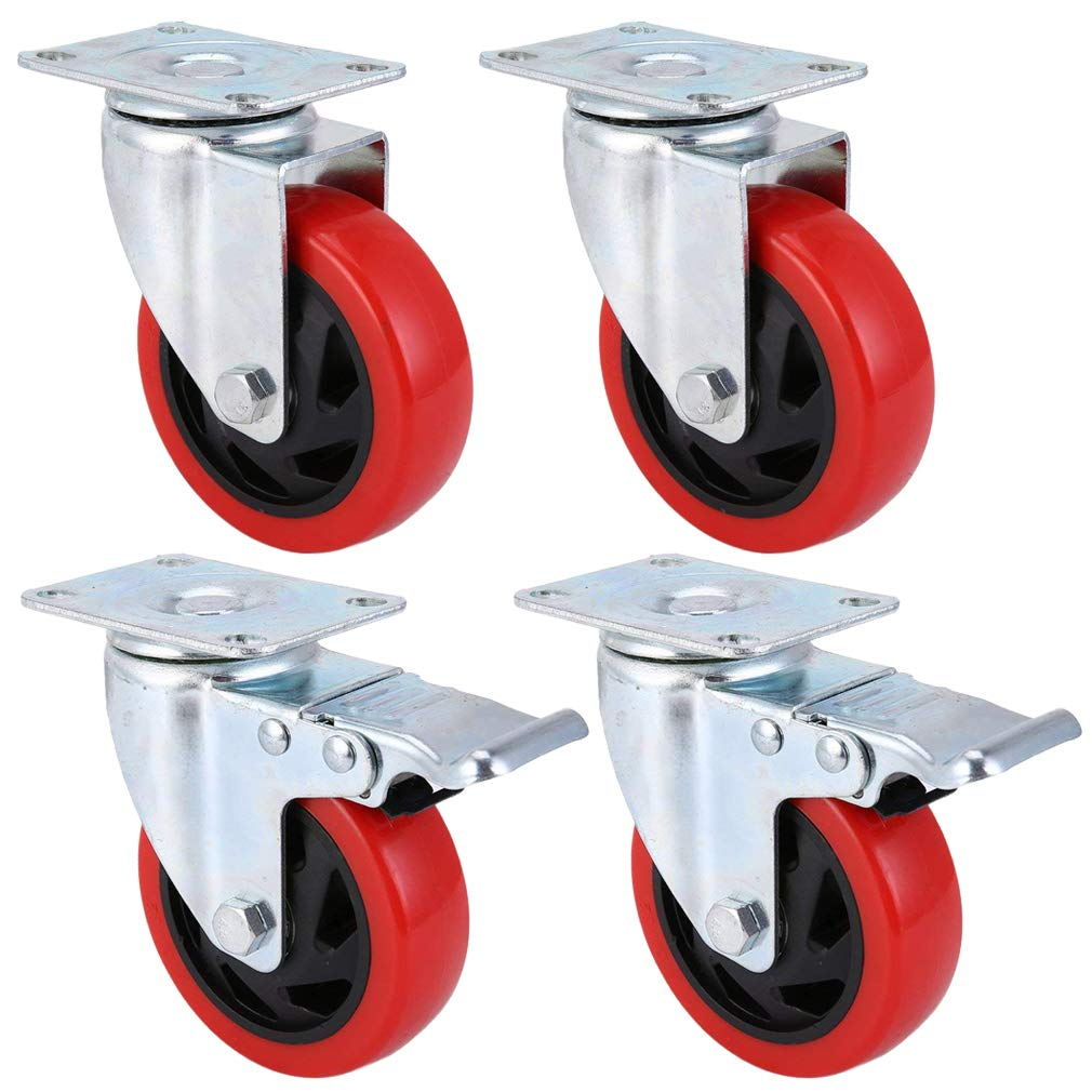 Homgrace 100mm Diameter, 4PC Rolling Cart Wheels Low-noise PVC Castors(2 Brake 2 Swivel) with Strong Steel & Iron Mounting Plate for Trolley, 900kg Capacity