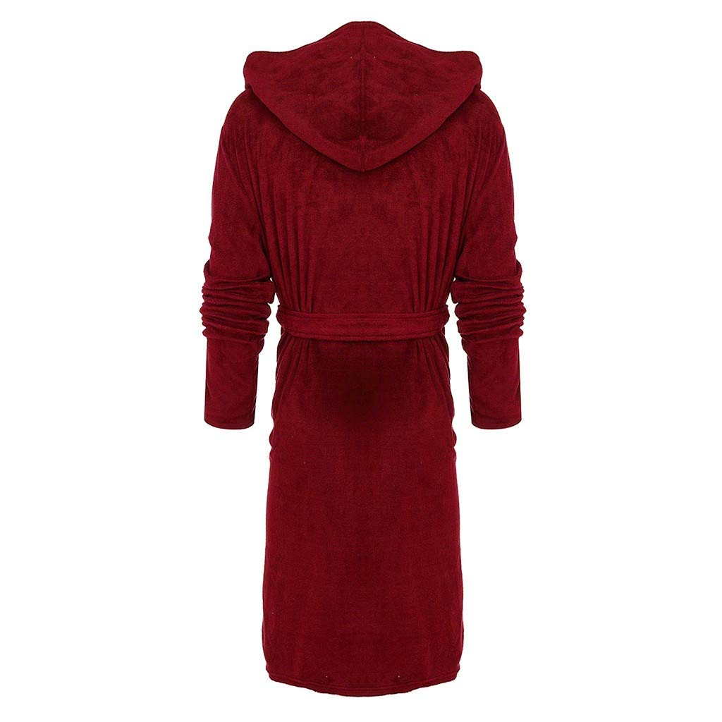 Tomatoa-sleepwear Mens Fleece Dressing Gown with Hooded Bathrobe Winter Warm Long Robes Fluffy Nightwear Housecoat,Mens Winter Plush Lengthened Shawl Bathrobe Home Clothes Long Sleeved Robe Coat