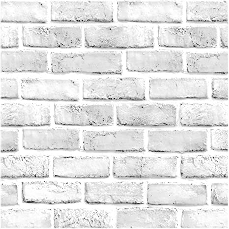 Vintage White Brick Pattern Contact Paper Self Adhesive Vinyl Wallpaper For Living Room Bedroom Kitchen Bathroom Wall Decor 45cm By 4 9m Wallpaper Amazon Canada