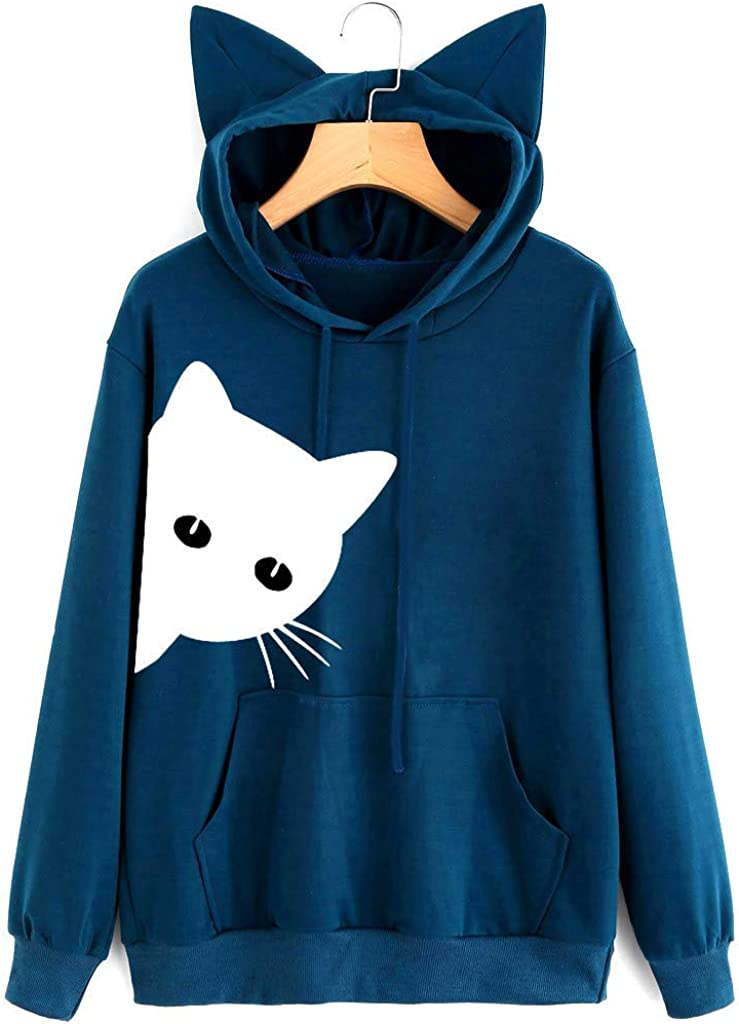 TAGGMY Womens Pullover Hoodie Clothing Red Blouse Cat Print Elegant Long Sleeve Casual Pink Black Tops Small Medium Shirt