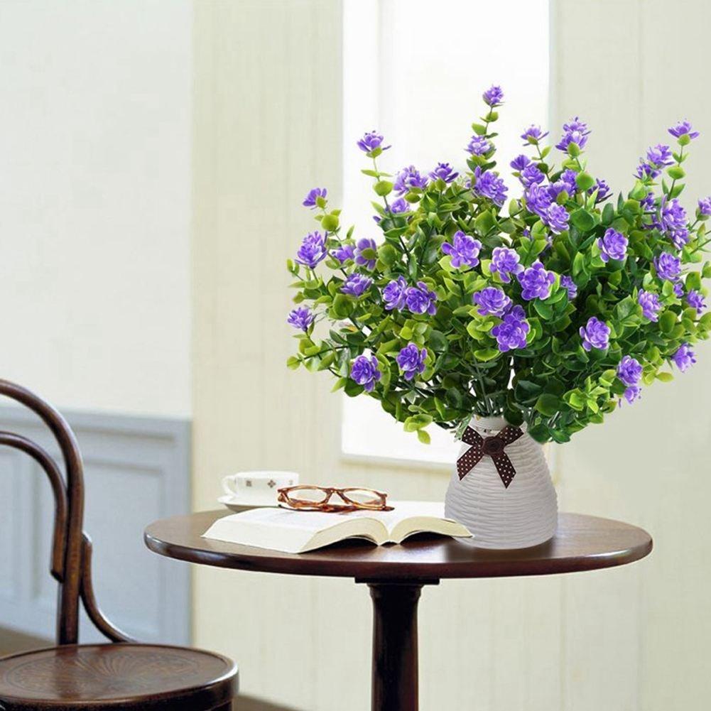 TOOGOO 4 pz piante finte pianta verde arbusti rami di eucalipto con viola del bambino respiro fiore di plastica cespugli casa ufficio giardino patio cortile coperta decorazione esterna