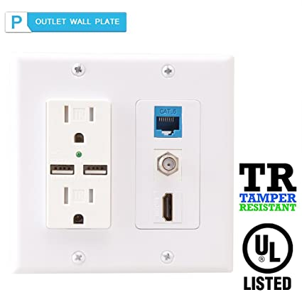 2 Power Outlet 15A with Dual 2.1A USB charger Port Wall Plate with LED lighting