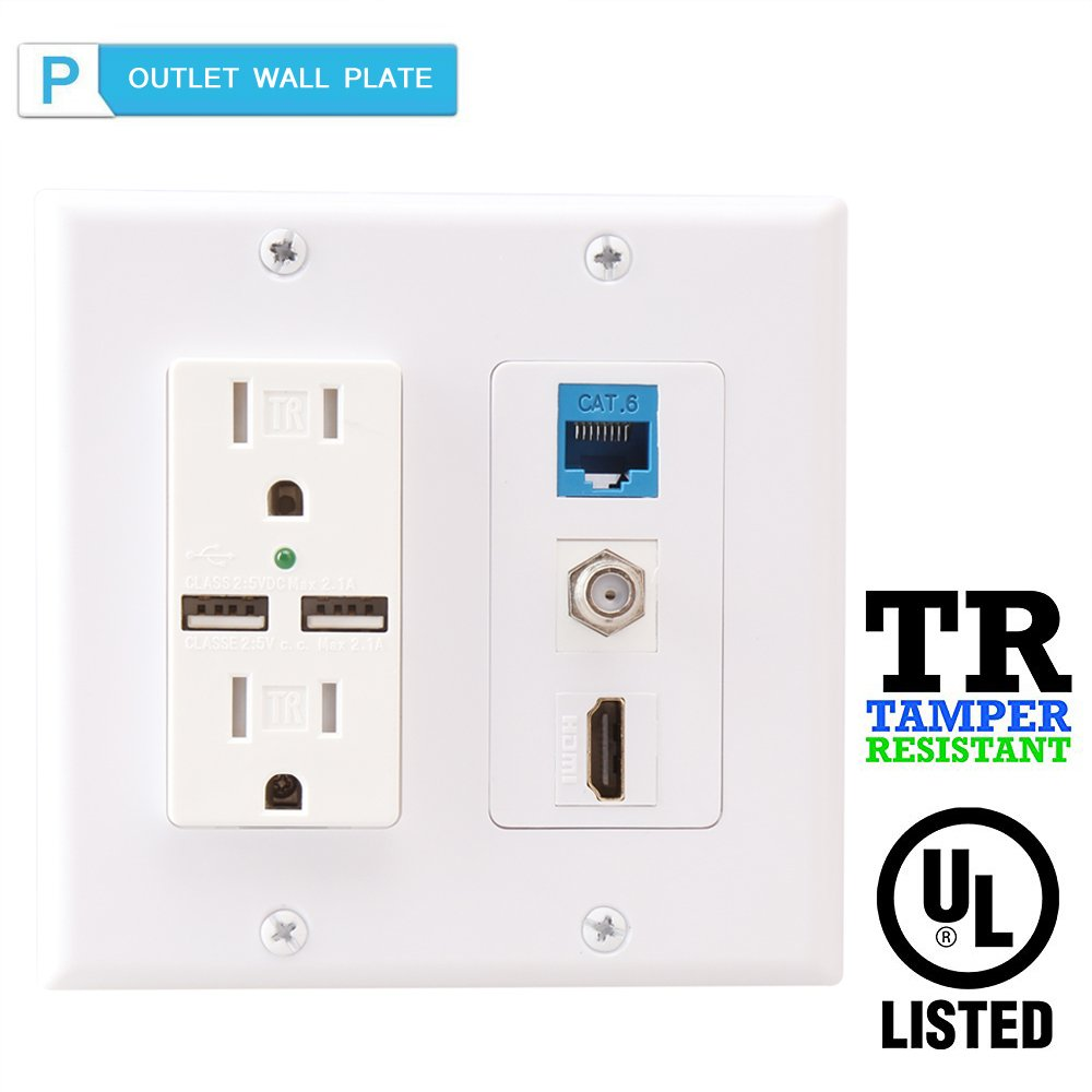 2 Power Outlet 15A with Dual 2.1A USB charger Port Wall Plate with LED lighting,PHIZLI 1 HDMI HDTV + 1 CAT6 RJ45 Ethernet + Coaxial Cable TV F Type Keystone Face Plate White