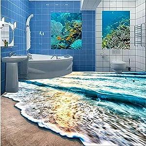 Sproud 3D Floor Custom Murals Beach Blue Sea Ripple Non - Slip Waterproof Thickening Self - Adhesive Floor Carta Da Parati by sproud