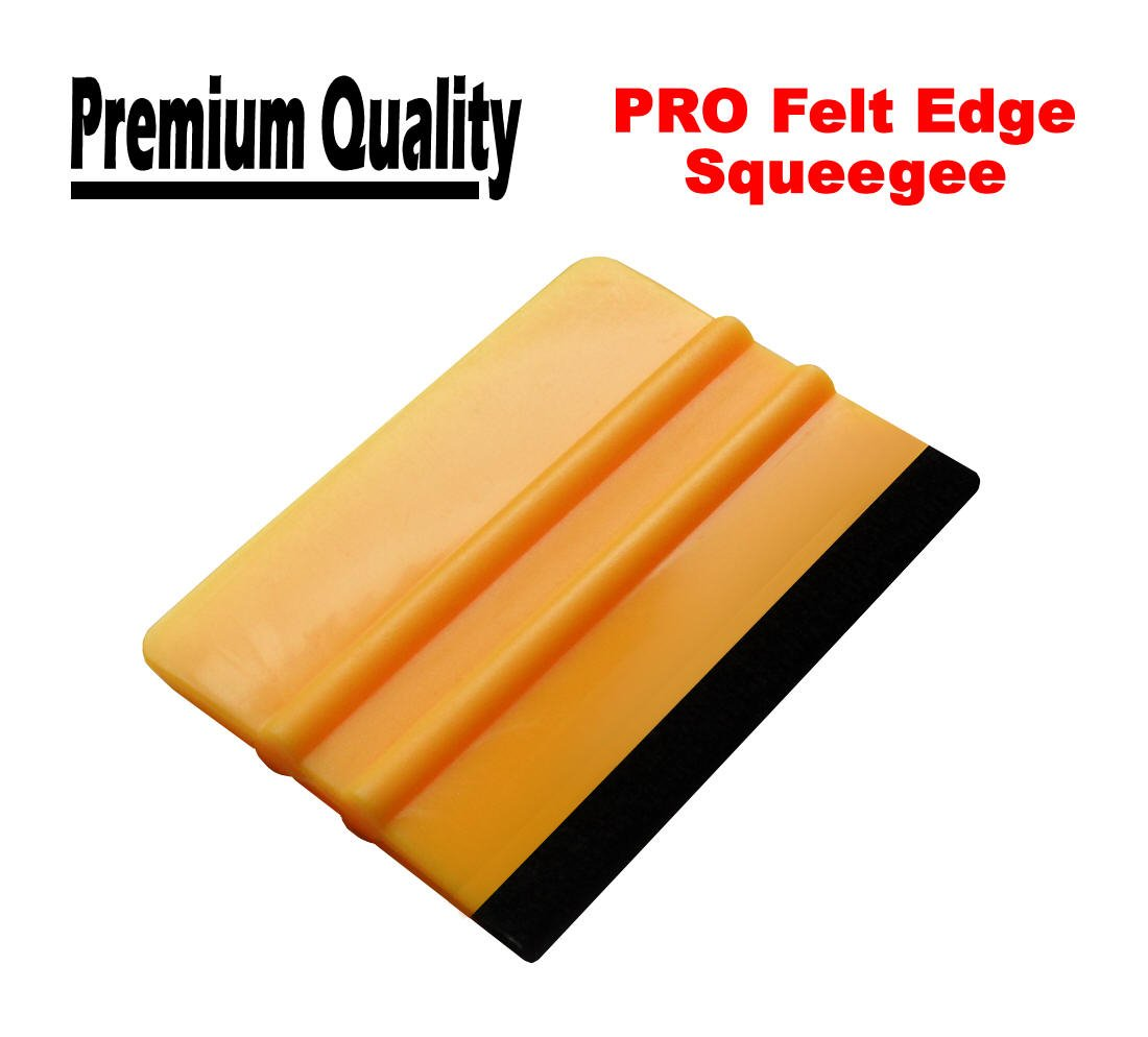 TIS (TM) PRO Felt Edge Squeegee Applicator for Carbon Fibre / Car Vinyl Wrap / Self-Adhesive Stickers / Window Film. Wrapping Tool.