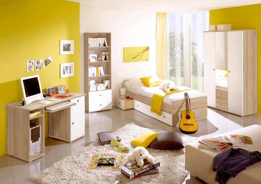 lifestyle4living Jugendzimmer in Eiche Sonoma NB und Abs. in weiß, Kojenbett (ca. 90x200cm), Schreibtisch mit Tastaturauszug, Kleiderschrank (B:ca. 115cm)