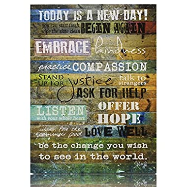 Today is a New Day Wood Wall Art Print by Marla Rae 16  x 12""