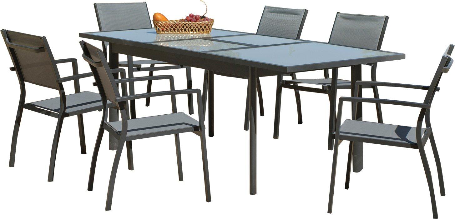 Gartenmöbel, Aluminium und Textilene grau 6 Personen online kaufen