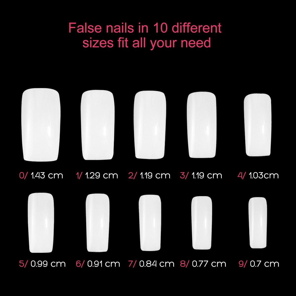 False Nail Tips 500 pcs Artificial Fake Nails 10 Sizes With Box and Nail Clippers False Nail Cutter Full Cover Nails