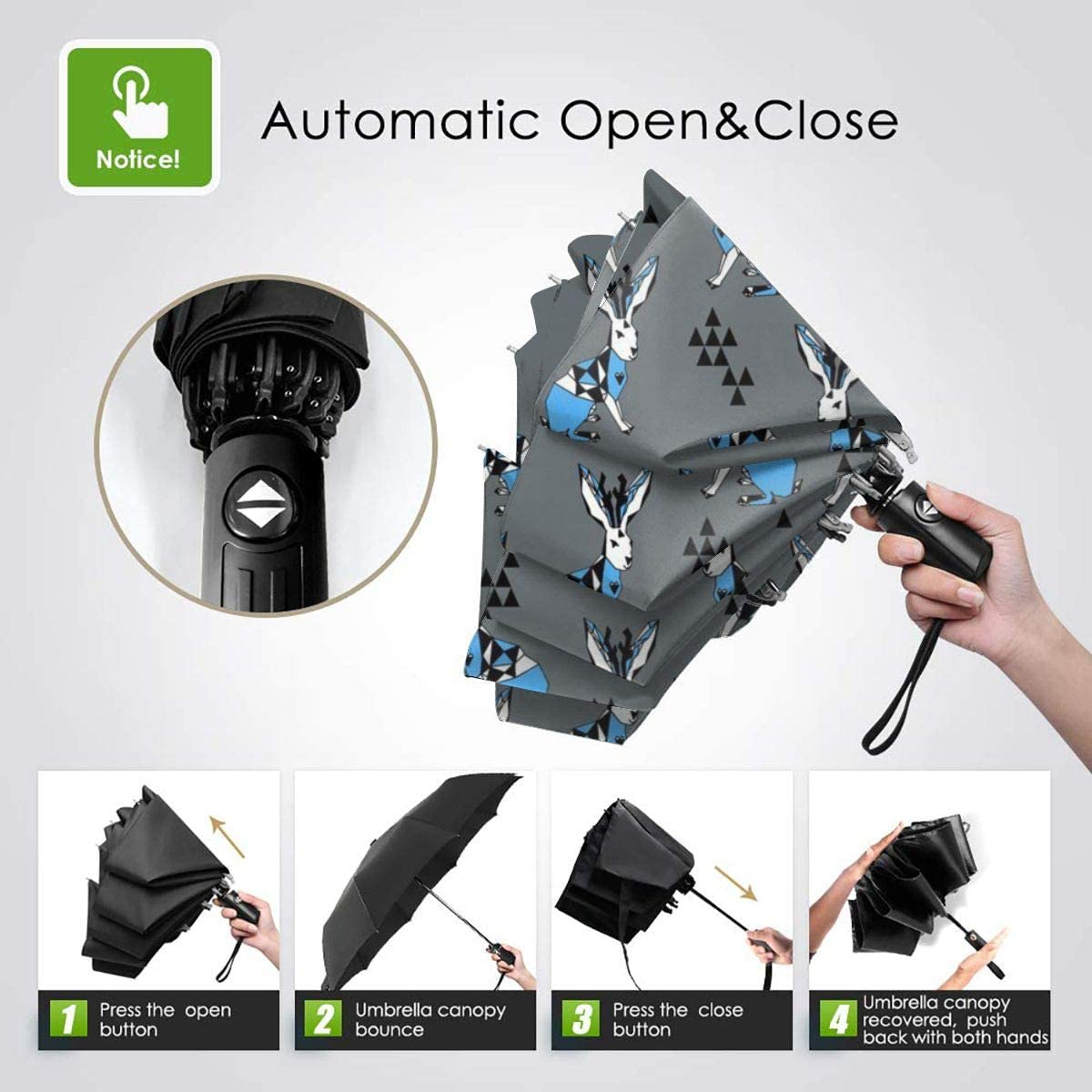 Jackalope Geometric Blue Grey Umbrella Compact Rain/&Wind Repellent Umbrellas Sun Protection With Anti UV Coating Travel Auto Folding Umbrella