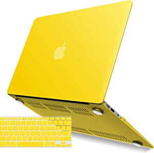 IBENZER MacBook Air 13 Inch Case A1466 A1369, Hard Shell Case with Keyboard Cover for Apple Mac Air 13 Old Version 2017 2016 2015 2014 2013 2012 2011 2010, Yellow, A13YW+1