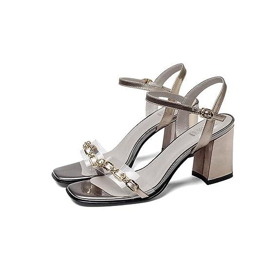 Cabeza Cuero Genuino De Zapatos Cuadrada Nuevo Mujer Verano 8wfqCSx