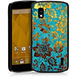 Google Nexus 4 Hülle Schutz Hard Case Cover Blumen Muster Gold