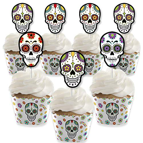 Day Of The Dead - Cupcake Decoration - Halloween Sugar Skull Party Cupcake Wrappers and Treat Picks Kit - Set of 24 -