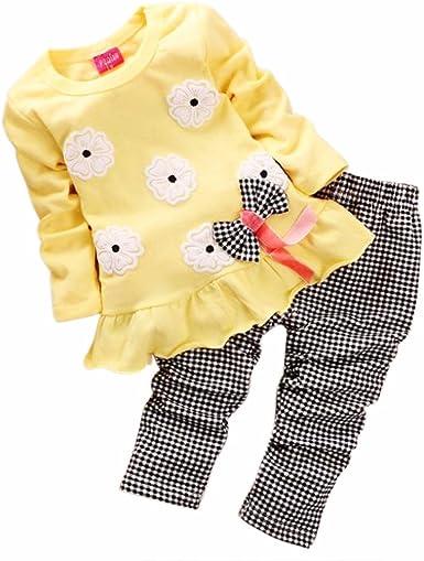 2pcs Neonata Completini Manica Lunga O-Collare Bowknot T-Shirt Pullover Cime Striscia Pantaloni Bambina Vestiti