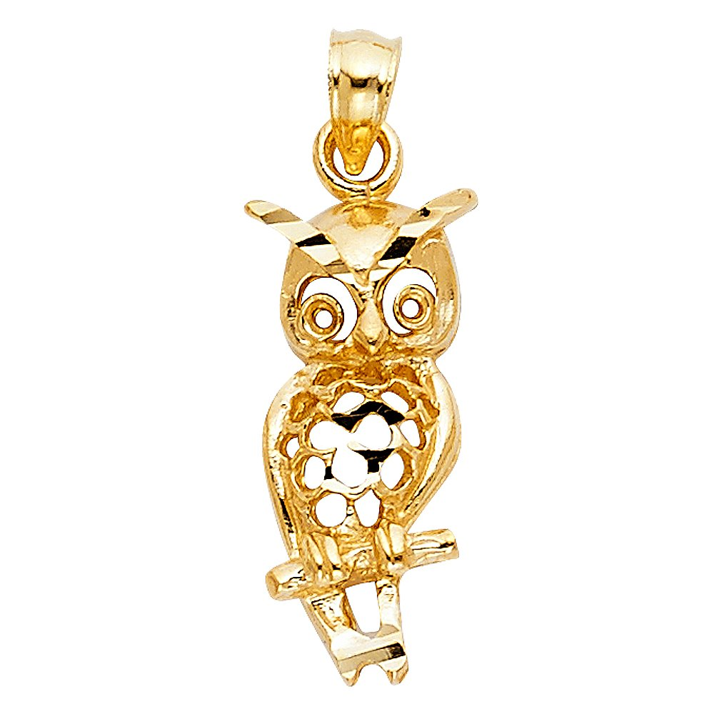 20mm x 9mm Million Charms 14k Yellow Gold Owl Charm Pendant
