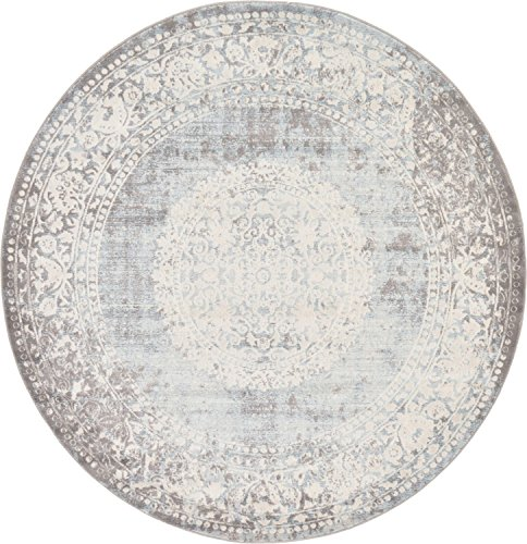 Unique Loom New Classical Collection Traditional Distressed Vintage Classic Light Blue Round Rug (6' x 6')