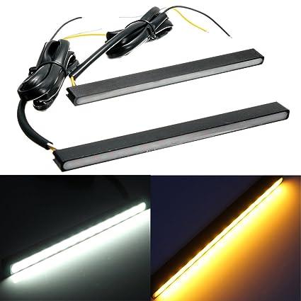 AUDEW 2 x diurnas bicolor luces LED blanco (15 14 ámbar ...