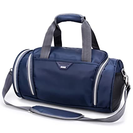 757fbc272b Amazon.com  Gooteff Gym Bag with Shoes Compartment Waterproof Lightweight  Nylon Bags for Men and Women Sports Outdoor Travel Handbag (Blue)  Sports    ...