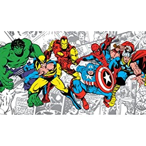 Roommates jl1291m ultra strippable marvel classics for Character mural